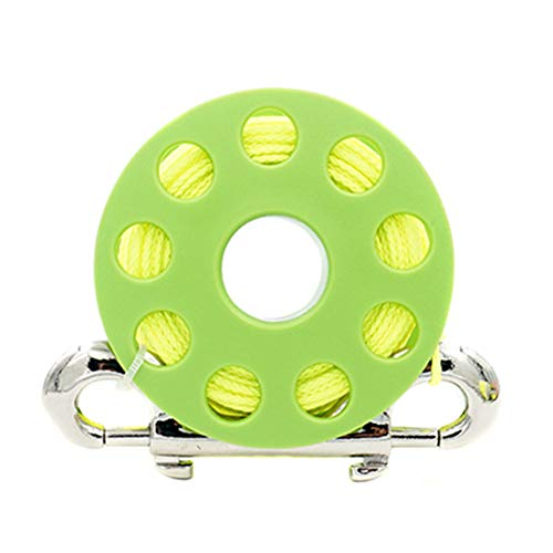 LNIMIKIY Fingerspule 30 m tragbare sichere Ausrüstung mit Bolzen-Schnappverschluss leichte Unterwasser-Angelschnur Angelschnur Spule für Höhlen, kompaktes Tauchen, Schnorcheln, Zubehör (weiß)