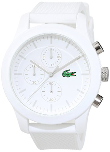 Lacoste Mens Quartz Watch Chronograph Display and Silicone Strap 2010823White