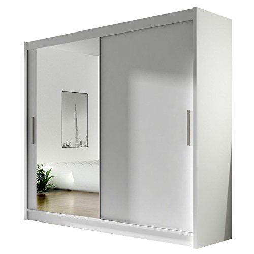 Kleiderschrank mit Spiegel London VI, Schwebetürenschrank, Schiebetürenschrank, Modernes Schlafzimmerschrank 180x215x57cm, Garderobe, Schlafzimmer (Weiß)