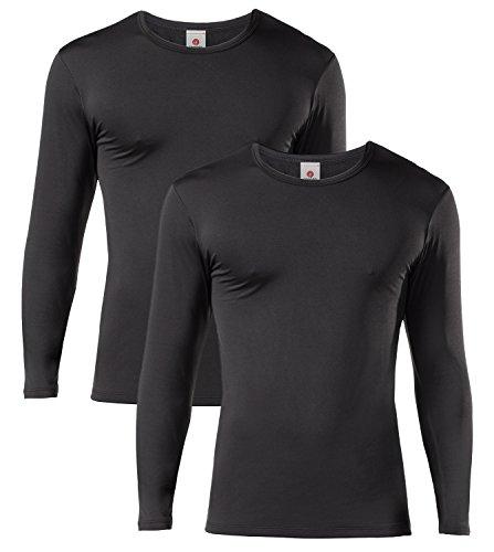 LAPASA Camiseta Térmica, Pack de 2 Manga Larga para Hombre. -Brushed Back Fabric Technique- M09 (L (Largo 72, Manga 60, Pecho 105 cm), Negro 2)