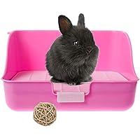 Silvergent Arenero de Esquina para Conejos, con Rejilla para Entrenamiento (Rosa), Completa con Juguete de Mimbre para Masticar para Animales pequeños