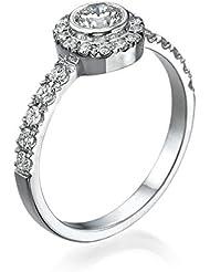 Diamant Ring 0.62 Ct W E/SI1 Round 18 Karat (750) Weißgold (Ringgröße 48-63)