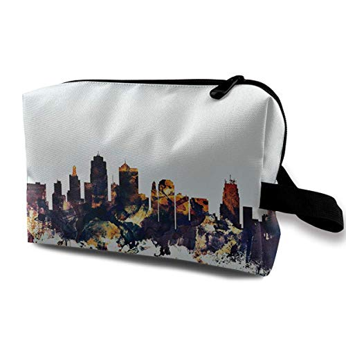 Kansas City Skyline Blue Travel Toiletries Bag Sturdy Organizer Cosmetic Handbag for Women Men Portable (Tragen City Kansas)