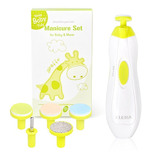 Elera Electric Bébé Nail File Clippers pour les nouveaux-nés Ustensiles et ongles avec LED Light