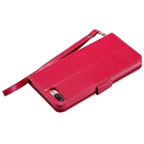 iPhone 8 Custodia [Con protezione libera dello schermo], COOSTOREEU Custodia portafoglio in pelle Premium Folio con [kickstand] [Slot per schede] [Chiusura magnetica] [Cinturino in lussuoso] Custodia  rosa rossa