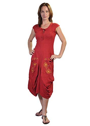 Damen Kurzarm Wadenlänge Kleid mit Blumen-Stickerei Gedruckt auf den Taschen. Rot