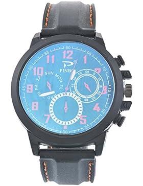 Souarts Herren Armbanduhr Einfach Stil Sport Analoge Quarz Uhr Orange 24cm