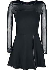 Spiral Robe portefeuille évasée à manches en résille longues pour femme Motif Gothic Rock Noir