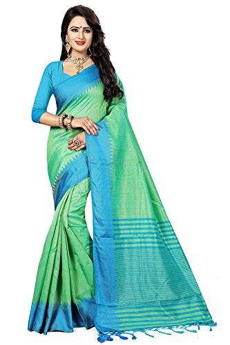 Traditional Ethnic Raw Silk Banarasi Sarees With Unstitched Blouse Design, Light Green