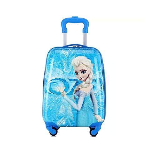 Children's Trolley Case Bagage pour Enfant, Mignon Motif Dessin animé, cartons de freinage à Quatre Roues, Valise pour étudiants, 40,6 à 45,7 cm 18in Blue Girl