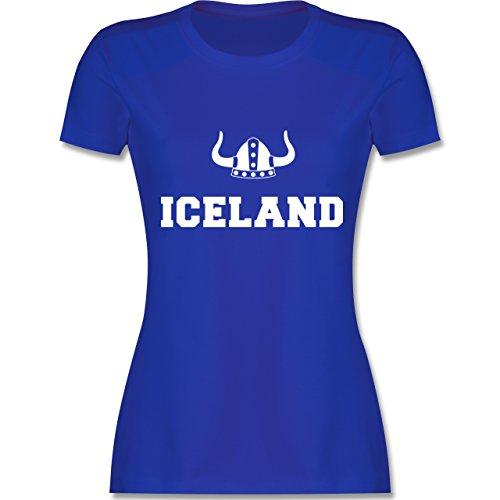 Shirtracer Länder - Iceland + Wikingerhelm - Damen T-Shirt Rundhals Royalblau