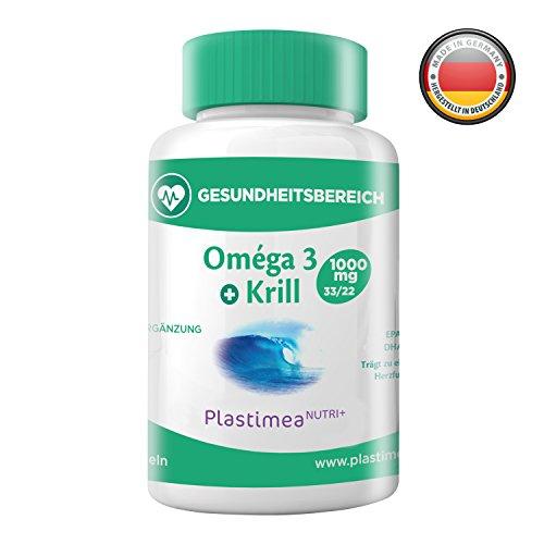 Omega-3-Fettsäuren Fischöl (80%) + Krillöl (20%) – Die PERFEKTE KOMBI – Hohe Bioverfügbarkeit, EPA, DHA – Natürliches Astaxanthin & Antioxidantien - LEBENSWICHTIGE FETTE – 60 hochdosierte Kapseln – MADE IN GERMANY – Monatsvorrat