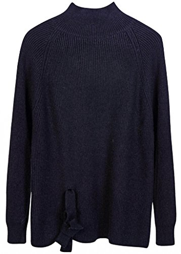 Vogueearth Damen's Lang Hülse V-Hals Knit Basic Sweater Sweatshirt Pullover Schwarz (Sleeveless Sweater Black Knit V-neck)