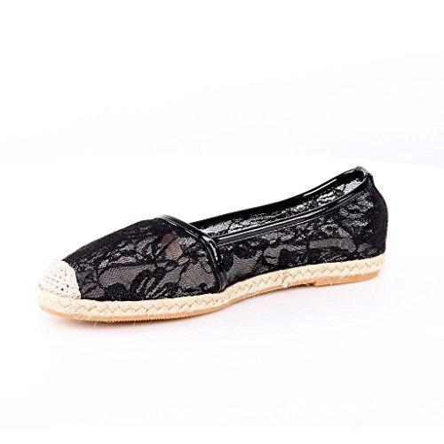 Espandrilles Flache Schuhe Spitze Flache Schuhe Ballerinas Schuhe Neu Schwarz