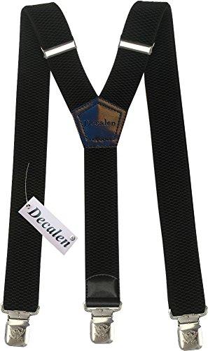 Bretelle Uomo Donna Unisex larghe 4 centimetri forma a Y regolabile ed elastico per i pantaloni molto forti Clip vari colori (Nero)