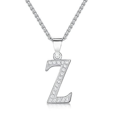 Sólo Jo inicial 'z' plata de ley y circonita cúbica Letra Colgante en 41–46cm cadena de Spiga