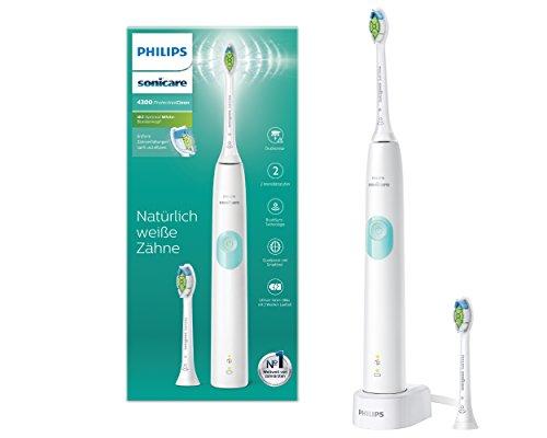 Philips Sonicare ProtectiveClean 4300 elektrische Zahnbürste HX6807/51 - Schallzahnbürste mit Clean-Putzprogamm, Andruckkontrolle & Timer - Weiß - Elektronische Zahnbürste 1 Jahr