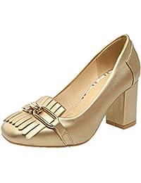 the best attitude f34cd ffd00 VogueZone009 Donna Tacco Alto Puro Tirare Punta Quedrata Ballet-Flats