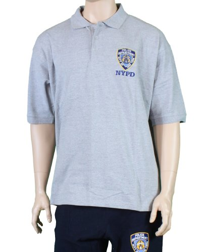 NYC FACTORY New York Cops – NYPD Offizielles Gesticktes Logo Polo Shirt Grau Gr. Small, Grau (Nyc Herren Polo)