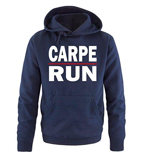 Comedy Shirts - CARPE RUN - Uomo Hoodie cappuccio sweater - taglia S-XXL vari colori blu navy / bianco-rosso