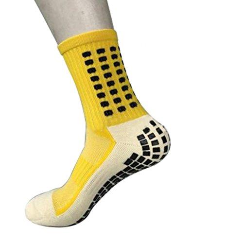 Zhouba, calzini da uomo sportivi, antiscivolo, metà polpaccio, da calcio, yellow, taglia unica