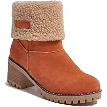 Minetom Botas de Nieve Mujer Tacón Medio Botines Botita Moda Felpa Peluche Caliente Antideslizante Impermeable Zapatos