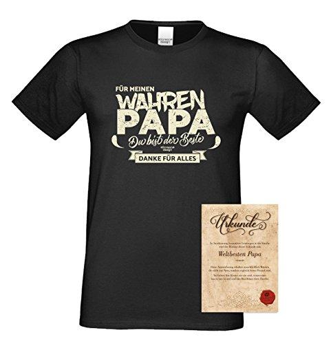 Vater, Vatertag, Vatertagsgeschenk T-Shirt Funshirt Für meinen wahren Papa Geschenkidee, Geschenkset, auch in Übergröße Farbe: schwarz Schwarz