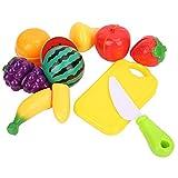 Drfeify Giocattolo della Frutta della coltelleria, 9 Pezzi Gioco di immaginazione di Taglio della Frutta Giocattoli da Cucina Giocattoli educativi Regalo per Bambini