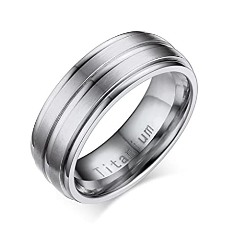 Titanium Ring for Mens Wedding Band Engagement Promise,Middle 2 Lines Matte Finished,Silver,Size 9