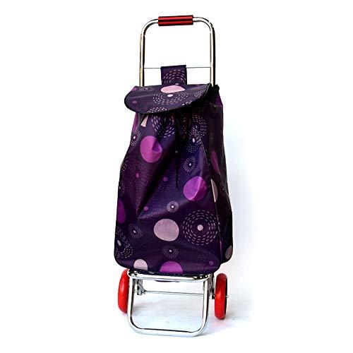 Einkaufstrolleys/Einkaufswagen Trolley Dolly mit Sitz einkaufen Lebensmittelgeschäft Faltbarer Wagen Heckklappe (Farbe : Lila, Größe : 93 * 34 * 28cm)