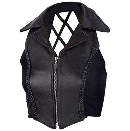 Weste Jacke Motorrad Leder Damen Biker Top Vest mit Kragen Custom XL schwarz