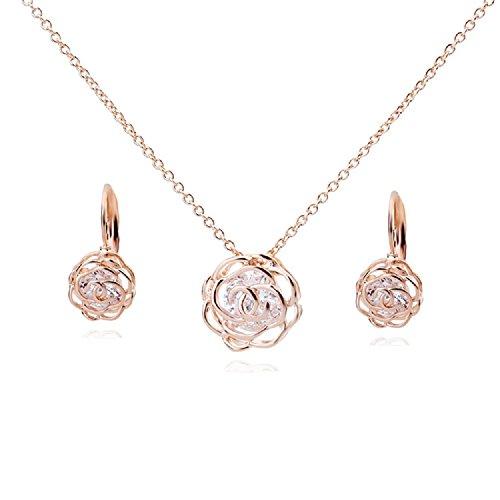 Fiori rose crystals from swarovski purare collana con ciondolo 45 cm orecchini monachella 18 kt placcato oro rosa per donne