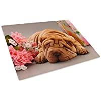 Brown Dog Flowers Pink Glass Chopping Board Kitchen Worktop Saver Protector