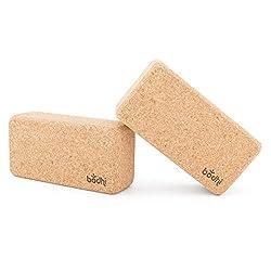 2er-Set Yogaklotz Kork, Yoga Blocks, Yoga Bricks aus Naturkork, praktische Hilfsmittel für Yoga, Yoga Zubehör
