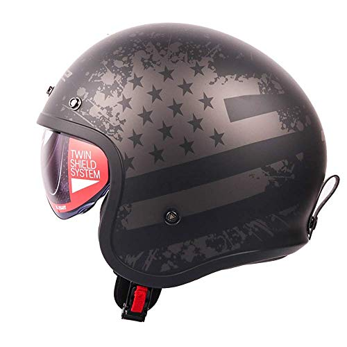 MEIEI Retro Motorradhelm Old School Harley Helm Abnehmbare Futter Feuchtigkeitstransport Cruiser Vintage Breathable Helm DOT-Zertifizierung, (Size : L)