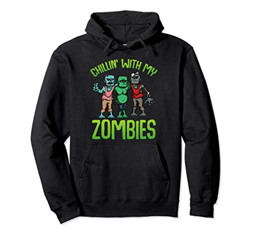 Chillin With My Zombies Lustiges Halloween Kostüm Jungs Pullover Hoodie