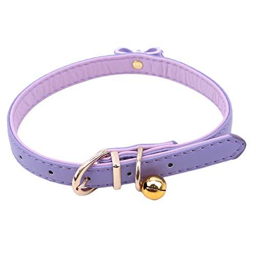 SUNSKYOO Hundehalsband PU Leder Kristall Bowknot Schnalle einstellbar niedliche Strass Bell Hundehalsband, lila, Medium -