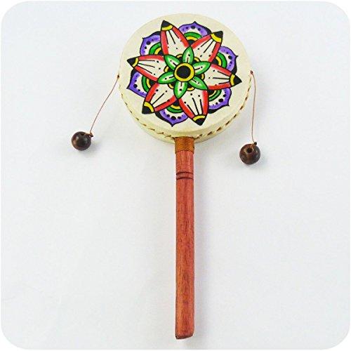 Simandra Schütteltrommel Handtrommel Meditation Drehtrommel Kindertrommel Trommel Spielzeug Rhythmus Klang (Mittel)