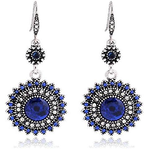 De la Mujer Bohemia Estilo Pendientes, Vintage Girasol Diseño Gemstone en lnkre Jewelry