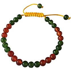 Manos de Tíbet tibetano Mala de jade y cornalina muñeca pulsera de yoga para la meditación