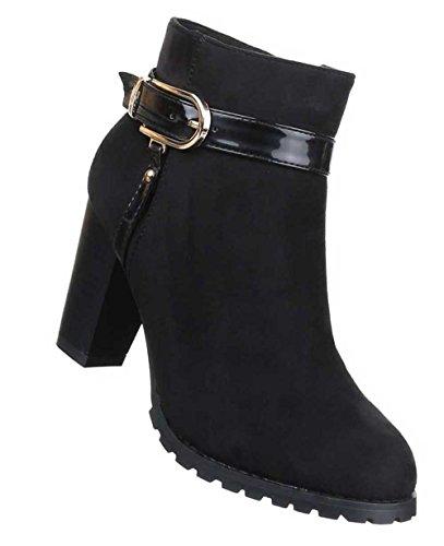 Damen Stiefeletten Schuhe Boots Designer Mit Deko Schnalle Schwarz Schwarz