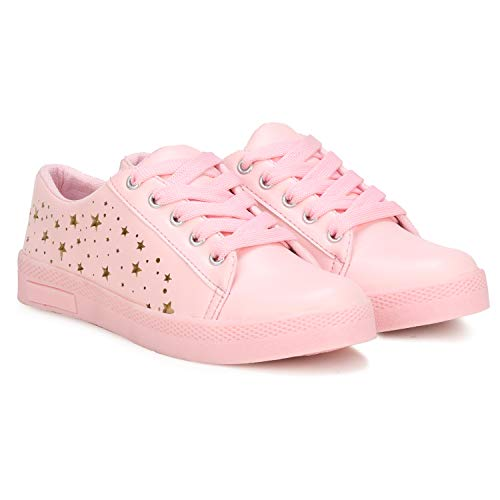 Denill Women's Light Pink Synthetic Leather Sneakers - 4 UK/India, 37EU