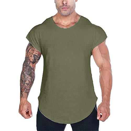 Fenverk Herren Fitness Shape Shirt Figur Formend Training Achselshirts Weste Sauna Schwitzeffekt Tank Top Stark Gym Bodyshape Mit Breit TräGer(Armeegrün 2,L)