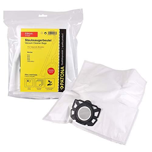 PATONA 5x Sachets aspirateur 2.863-006.0 pour Kärcher MV4 MV5 MV6 WD6 | sachet filtrant résistant fibre à 5 couches