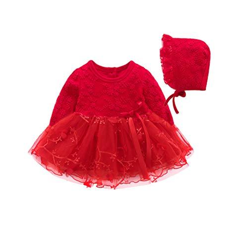 (YWLINK Kinder MäDchen Party Mesh Patchwork Spitze Tutu Prinzessin KleidVolltonfarbe Bequem Lange ÄRmel Blume Stickerei Kleiden(Rot,66))