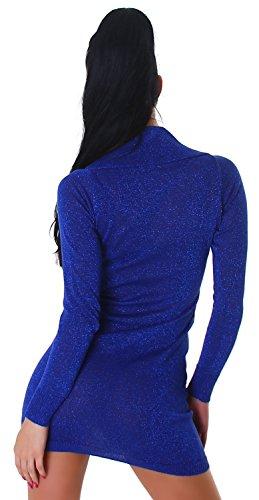 Jela London Damen Minikleid mit Gürtel einfarbig Einheitsgröße (30-34) Blau