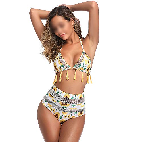 Elisha's house Frauen Mesh Floral High Waist Bikini Set Quaste Trim Top Halter Straps Badeanzug,Yellow,M -