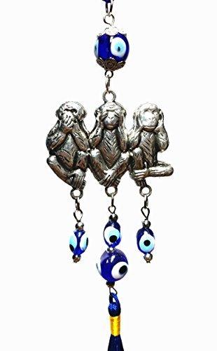 Blau Evil Eye Wise Affe Design zum aufhängen Ornament (mit einem betterdecor Geschenk Nylonhülle), metall, BEM01