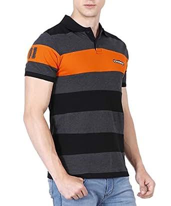 fanideaz Men's Half Sleeve Royal Striped Polo Tshirt With No.1 Applique S,Orange-Black-Charcoal