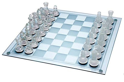 """TAG3 Glass Chess Set Featuring Frosted and Clear Glass Pieces and Glass Board 8""""x8"""" CHRISTMAS STOCK CLEARANCE"""
